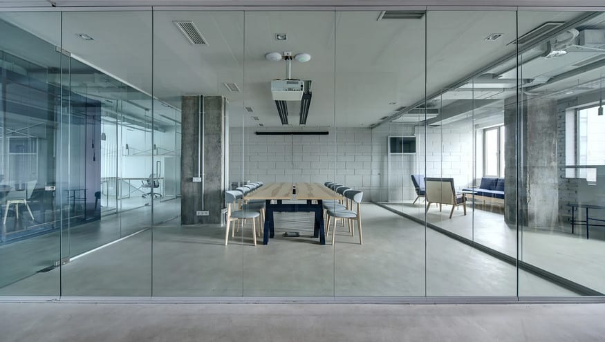 wideshot glass wall - Glass Partitions In Offices